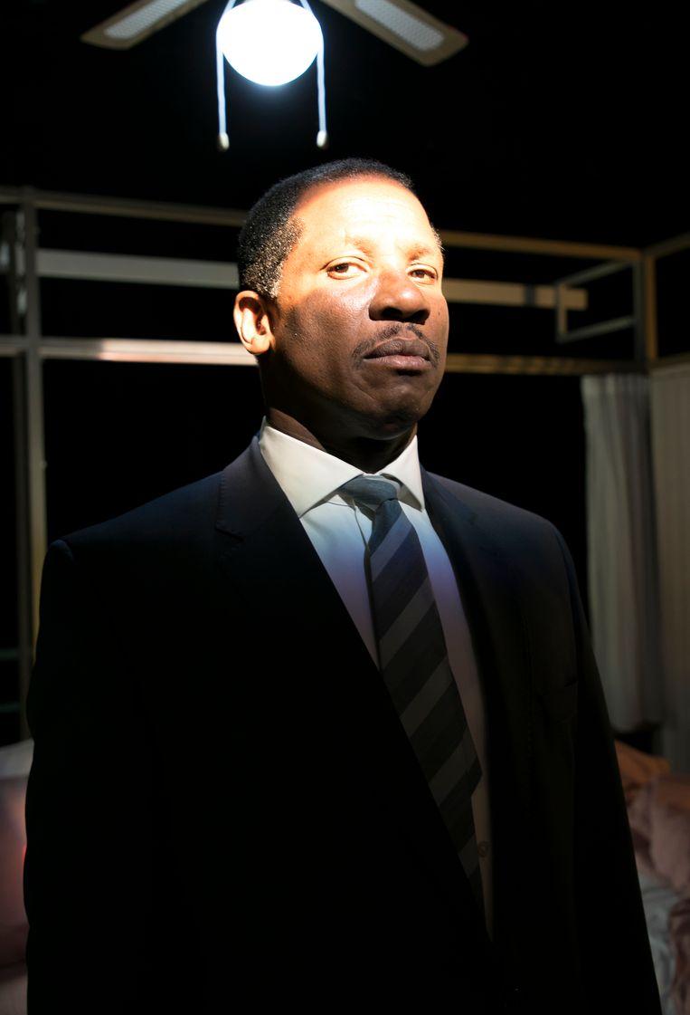 Acteur Dennis Rudge speelt Martin Luther King in The Mountain Top Beeld Judith Jockel