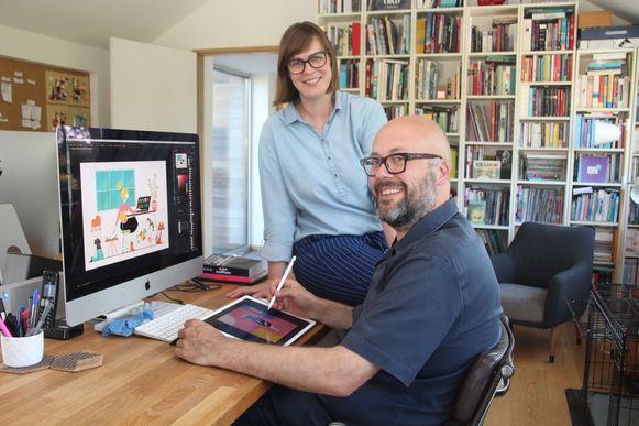 """Tekenaar Glenn D'hondt en diens echtgenote en artdirector Sylvia Meert uit Aaigem vormen samen de creatieve internationale studio """"Eugene and Louise'."""