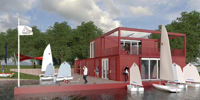 Een impressie van het nieuwe clubhuis van Watersportvereniging Engelermeer. Het skelet bestaat uit zeecontainers met een grote botenloods die ruimte biedt aan alle boten.