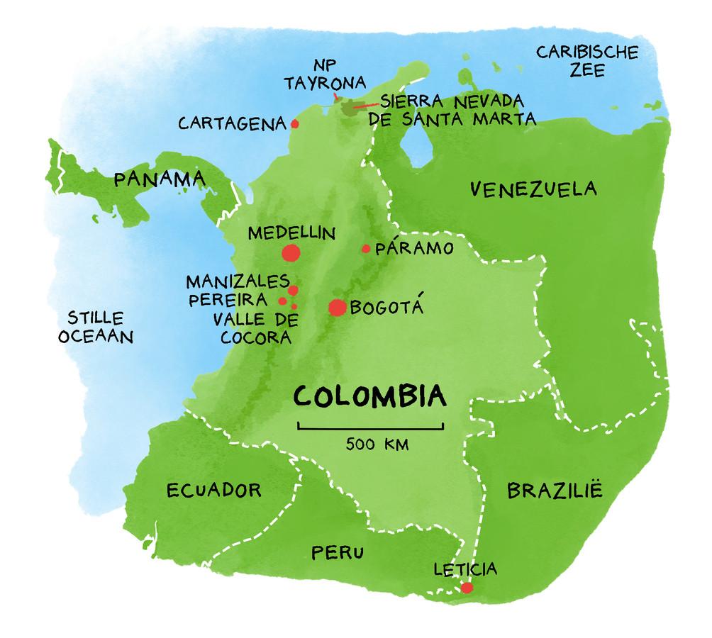 De trekpleisters van Colombia in kaart.