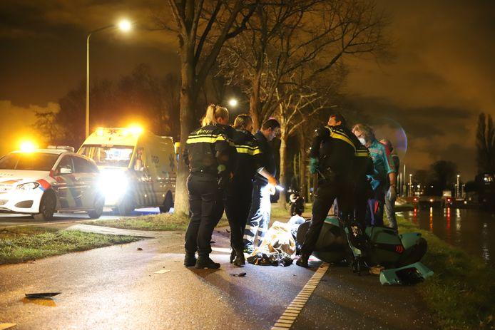 Bestuurder van brommer gewond na knal tegen boom Westvlietweg Den Haag.