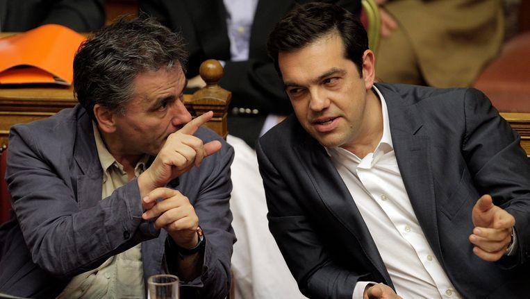 Grieks minister van Financiën Euclides Tsakalotos en premier Alexis Tsipras.