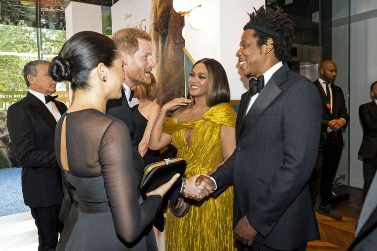 Meghan en Harry ontmoeten Beyoncé en Jay Z op de première van 'The Lion King'.