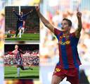 Ibrahim Afellay juichend als speler van Barça. Inzetjes: als speler van Schalke en Stoke City.