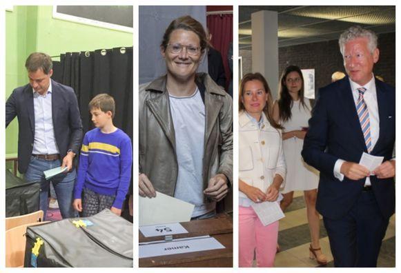 Oost-Vlaamse kopstukken Alexander De Croo (Open Vld), Anneleen Van Bossuyt (N-VA) en Pieter De Crem (CD&V) brengen hun stem uit.