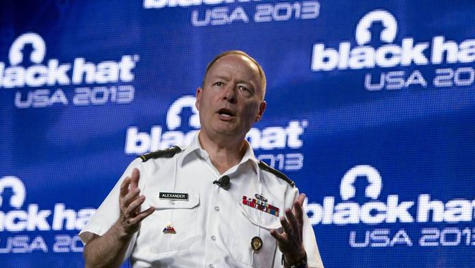 Hoofd van de NSA, Keith Alexander op de hackersconventie in Las Vegas.