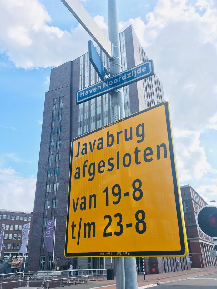 De Javabrug gaat een weekje dicht.
