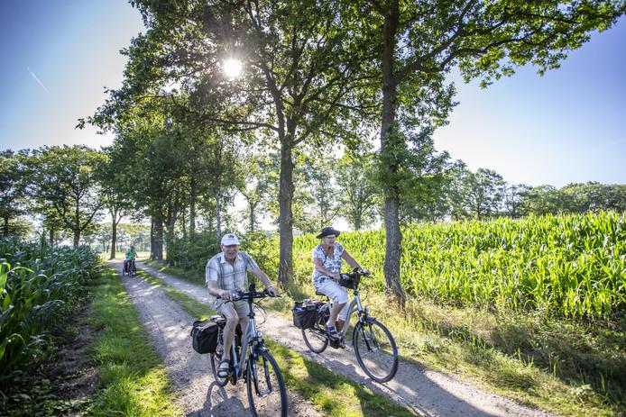 Deelnemers aan de fietsvierdaagse in Borculo genieten van het Achterhoekse landschap en het mooie weer.