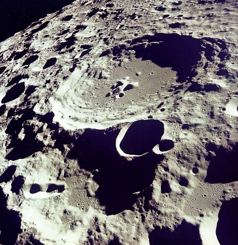 Het maanoppervlak, gefotografeerd vanuit een baan om de maan in 1969. Beeld NASA