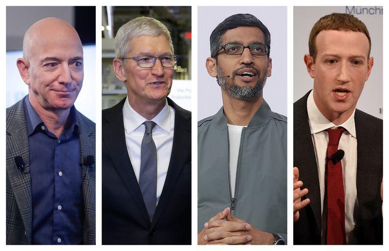 Jeff Bezos van Amazon, Tim Cook van Apple, Sundar Pichai van Google/Alphabet Inc. en Mark Zuckerberg van Facebook. Beeld AP