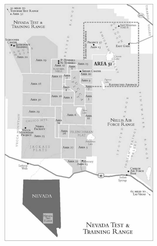 Kaart van Area 51.