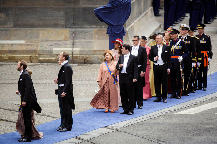 Prinses Christina arriveert bij de Nieuwe Kerk in Amsterdam voor de inhuldiging van Koning Willem-Alexander, 2013.