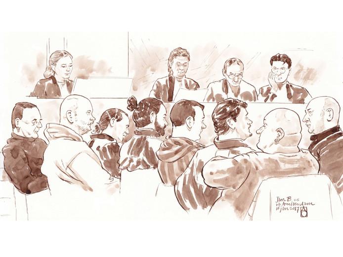Rechtbanktekening van Willem van H., verdachte Jan B., Mr. De Leon, Mr. De Pree, J. S. , J. de L. en Comert E. Achter links OvJ. Mr. Van Kampen, rechts in het midden voorzitter Kielstra.