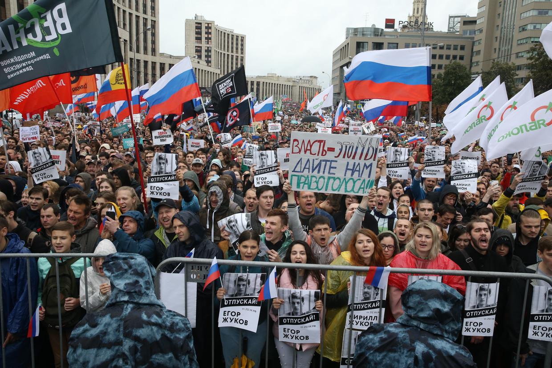 De demonstratie zaterdag in Moskou trok zeker 60.000 mensen.