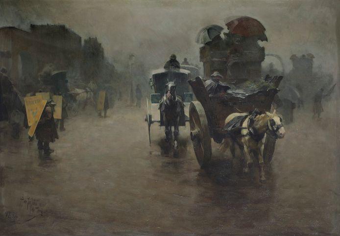 Londen, koetsen in de mist, 1888, olieverf op paneel, 70 x 100 cm (particuliere collectie).
