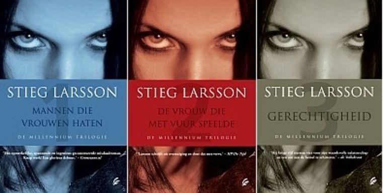 De covers van de Millennium trilogie van Stieg Larsson. Beeld x