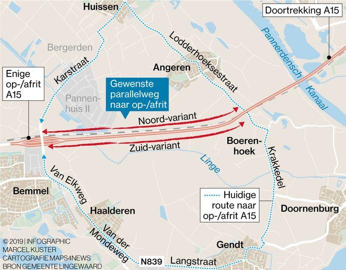 De varianten voor een parallelweg langs de verlengde A15 in Lingewaard.
