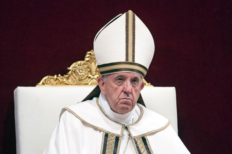 Paus Franciscus tijdens een mis in het Vaticaan.