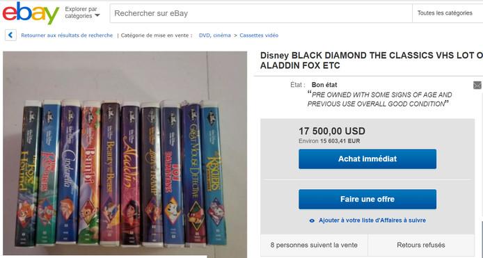Un set de VHS vendu à plus de 15.000 euros.