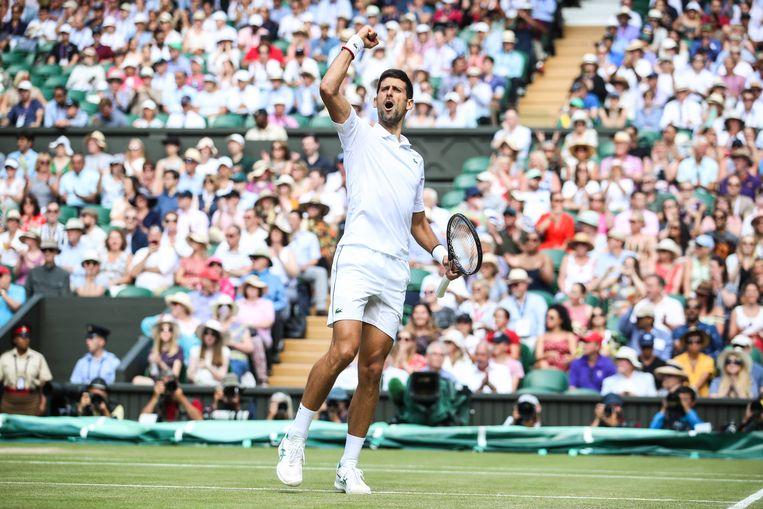 Novak Djokovic na zijn zege op Roberto Bautista Agut. Beeld Getty