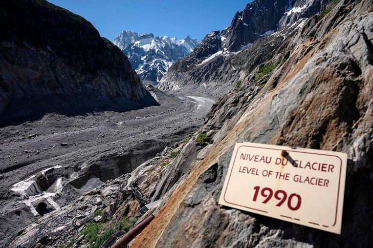 Het level van de Mer de Glace in 1990 versus in 2019.
