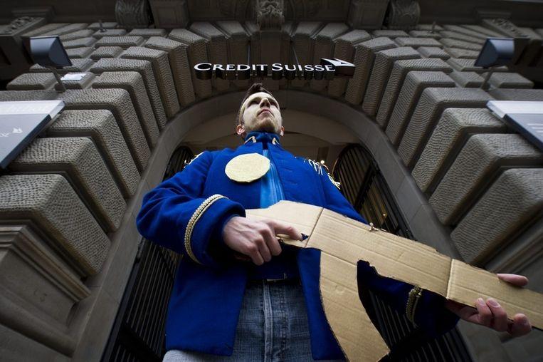 Occupy-actie in het financiële district in Zürich, Zwitserland. Beeld ap