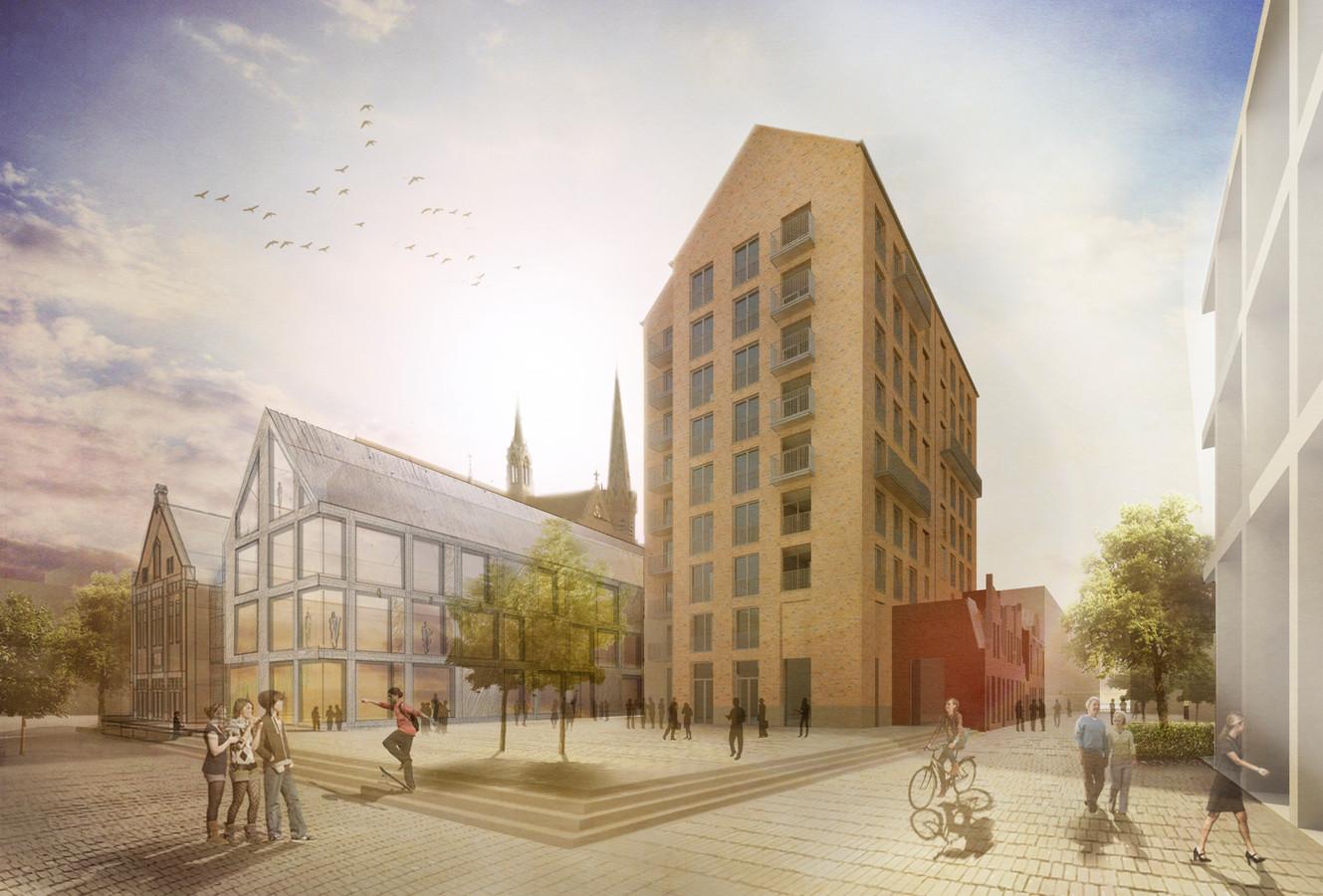 Zo moet het nieuwe plein in het Veemarktkwartier er over een kleine twee jaar uitzien. Met vlnr het Patronaat, de Lobby (voorlopig ontwerp), Pakhuis West en uiterst rechts Avec. De karakteristieke gevels van de woningen in de Veemarktstraat (rechts) blijven behouden.