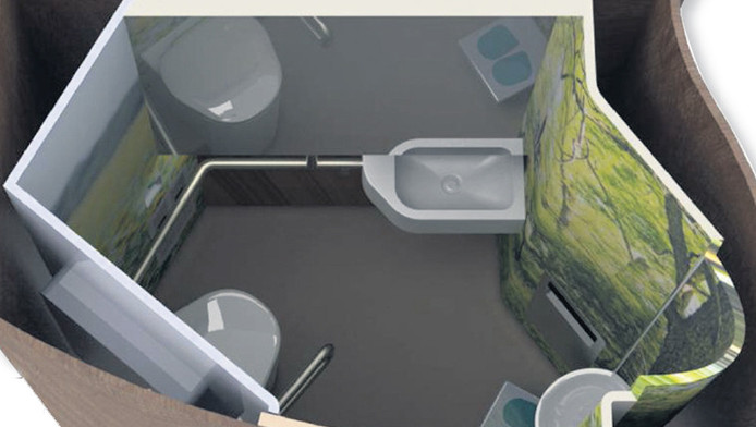 het nieuwe toilettenblok voor de trein, met rechtsonder het urinoir. Links: extra handvatten vergemakkelijken het gebruik van het toilet.