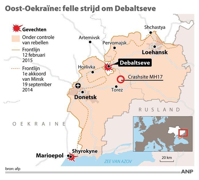De situatie voor de 'verovering' van Debaltseve.