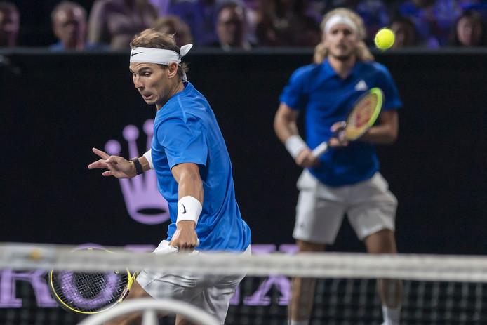 Rafael Nadal et Stefanos Tsitsipas, samedi à Genève