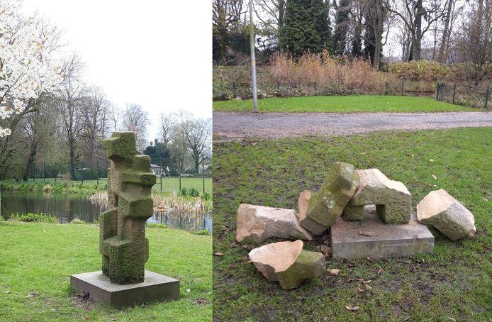 Het beeld, voor en na de vernieling