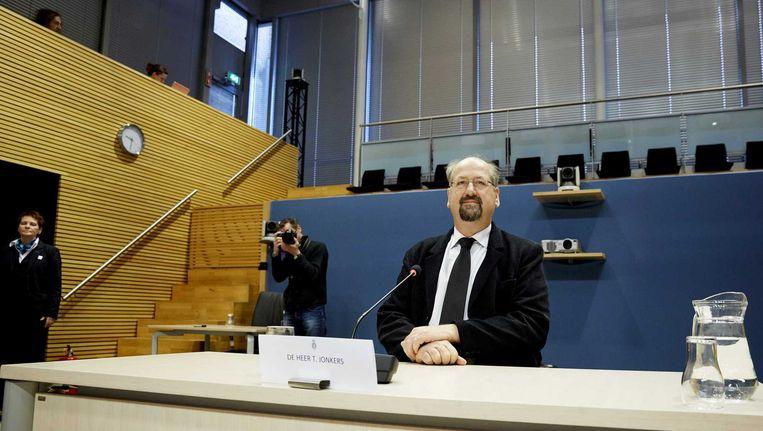 Tinus Jonkers verschijnt voor de parlementaire enquêtecommissie Fyra. Beeld anp