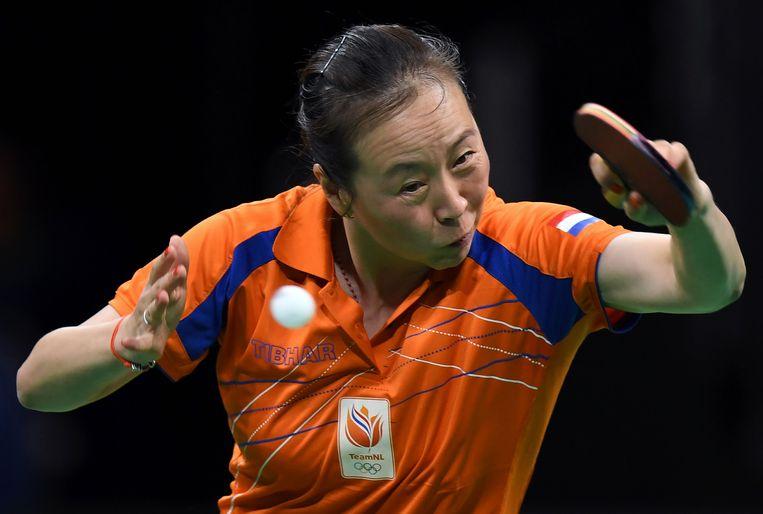 Li Jiao tijdens een wedstrijd op de Olympische Spelen in Rio de Janeiro in 2016. Beeld AFP
