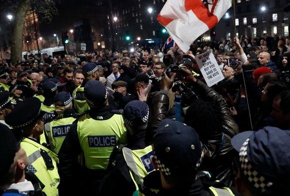 De politie moest vorige week ingrijpen bij relletjes na afloop van de pro-brexitdemonstratie in Londen.