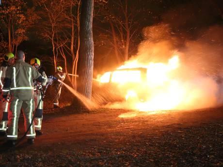 Bestelbus brandt volledig uit in natuurgebied Delftse Hout
