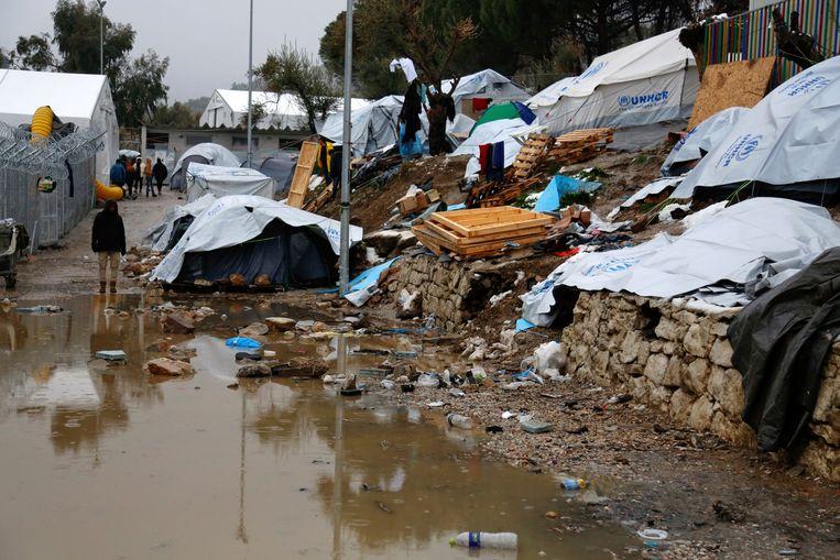 Het Moria-kamp op het Griekse eiland lesbos.