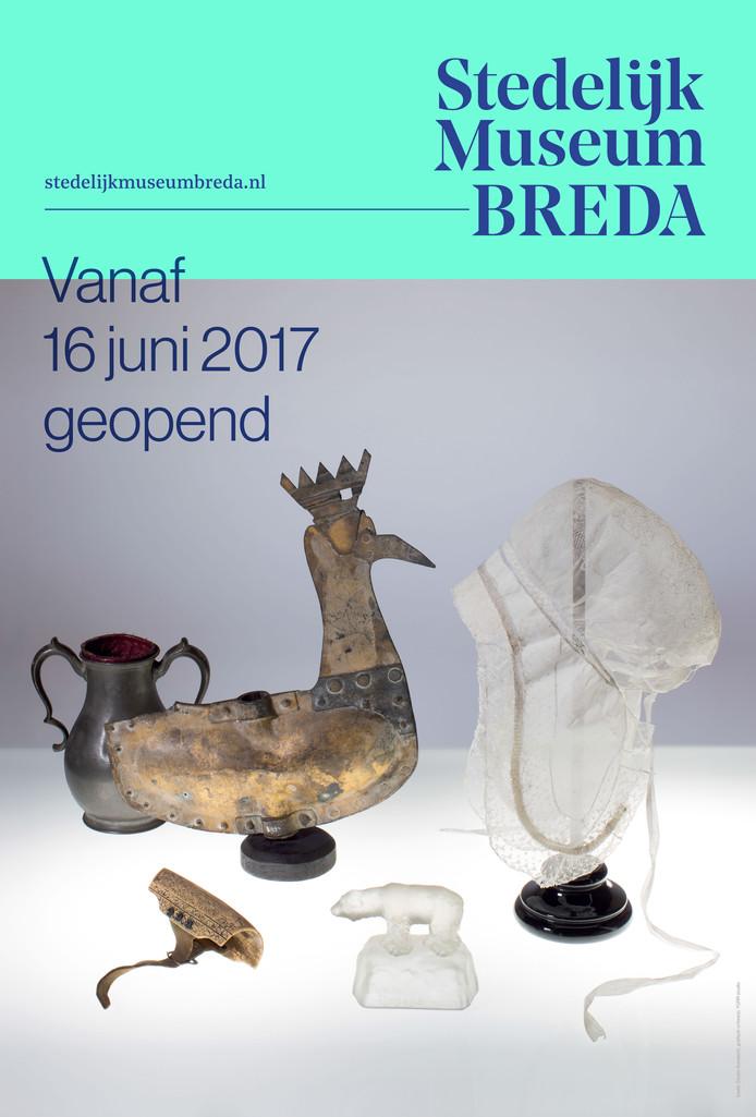 Het affiche van het Stedelijk Museum Breda dat binnenkort op veel plekken in Breda te zien is.
