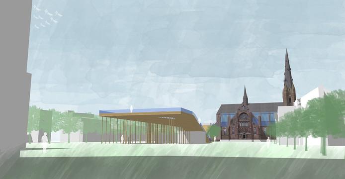 Zicht op het desigmuseum vanaf het stadhuis (ontwerp team 5).