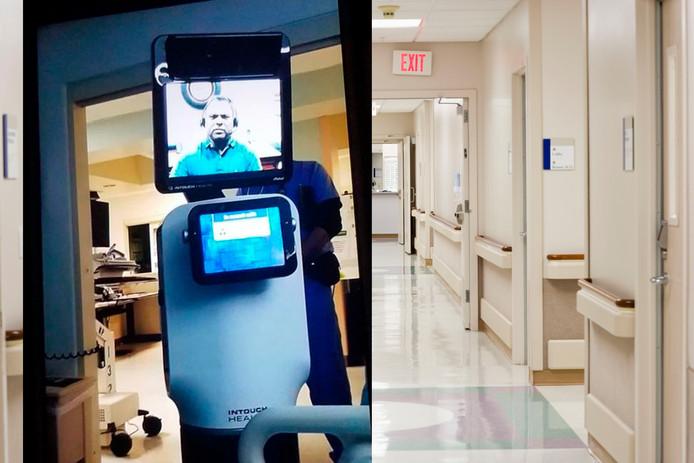 In de voorgrond de robot met videoscherm. De robot rolde de kamer van de Amerikaan in en de dokter verscheen op het scherm. En dan volgde het harde nieuws.