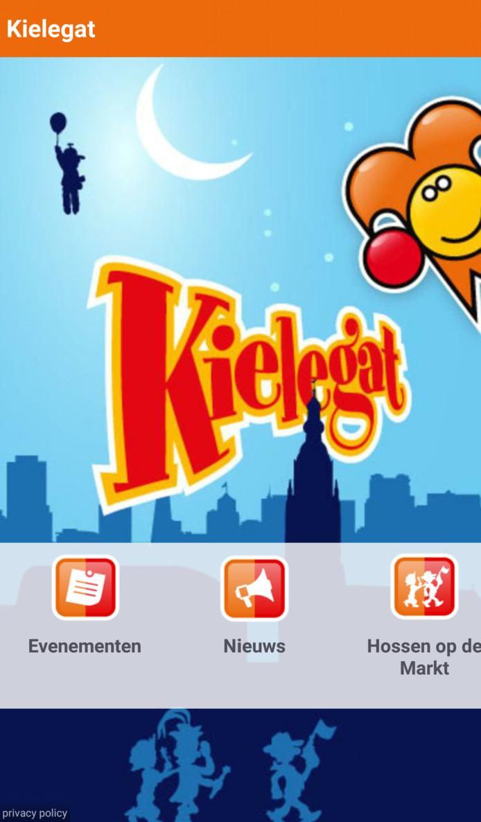 Een screenshot van de Kielegat-app