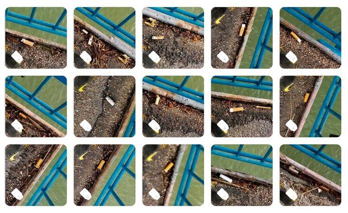 Een fotocollage van de peuken die de Lekjutters vonden.