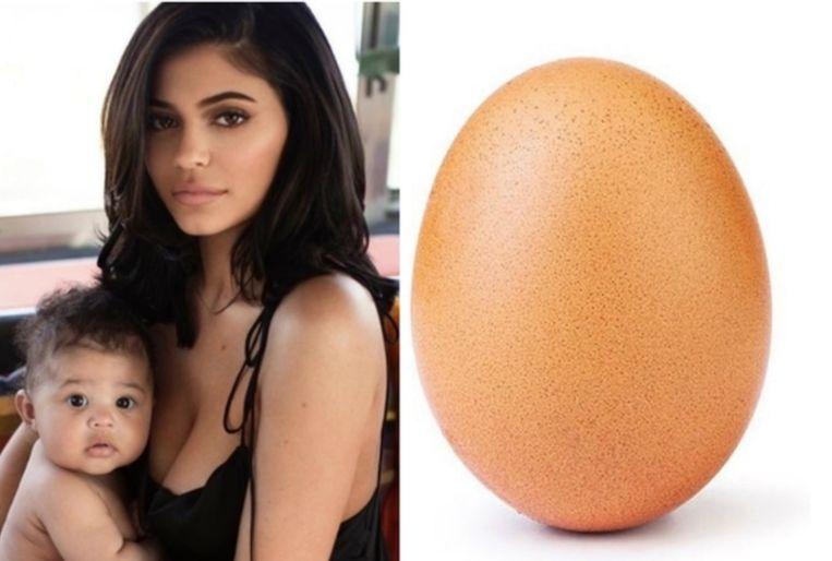 Kylie Jenner werd geklopt door een ei.