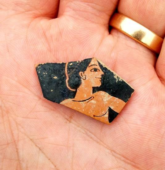 Een stukje aardewerk is teruggevonden uit het eind van de zesde eeuw voor Christus