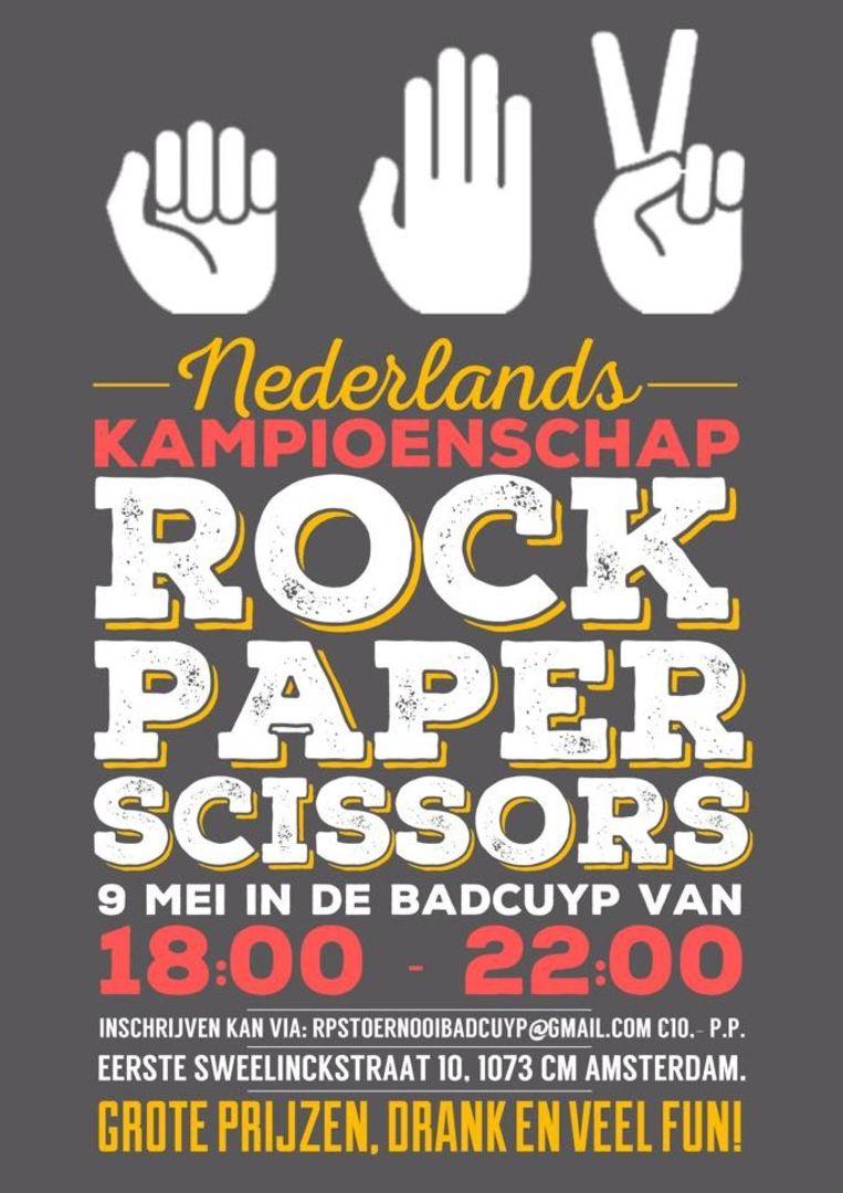 128 mensen gaan - met of zonder tactiek - meedoen aan het NK Steen, Papier, Schaar Beeld Facebook Nederlands Kampioenschap Rock, Paper, Scissors