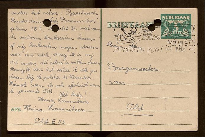 De briefkaart van Heinz Lomnitzer aan de burgemeester van Olst.
