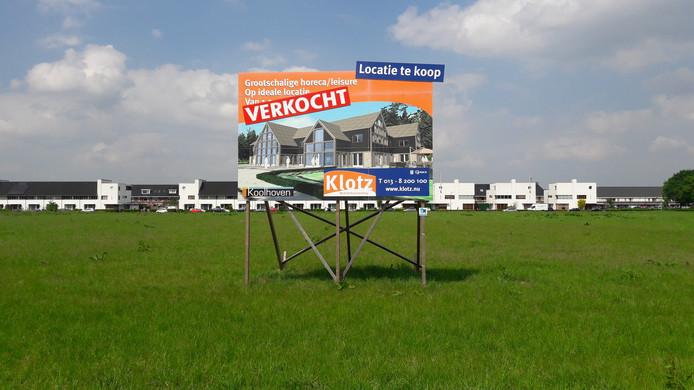 De locatie van wereldrestaurant 'Etenshof' aan de Bredaseweg, met op de achtergrond de woningen aan de Vlagtweddestraat.