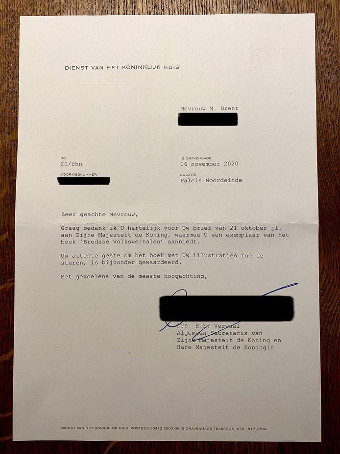 Brief van de koning aan Melanie Drent