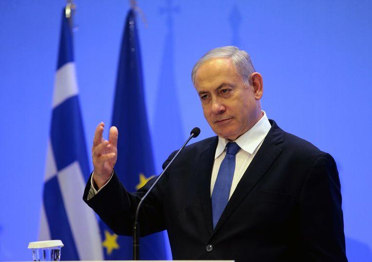 De Israëlische premier Benjamin Netanyahu donderdag in de Griekse hoofdstad Athene. Beeld EPA