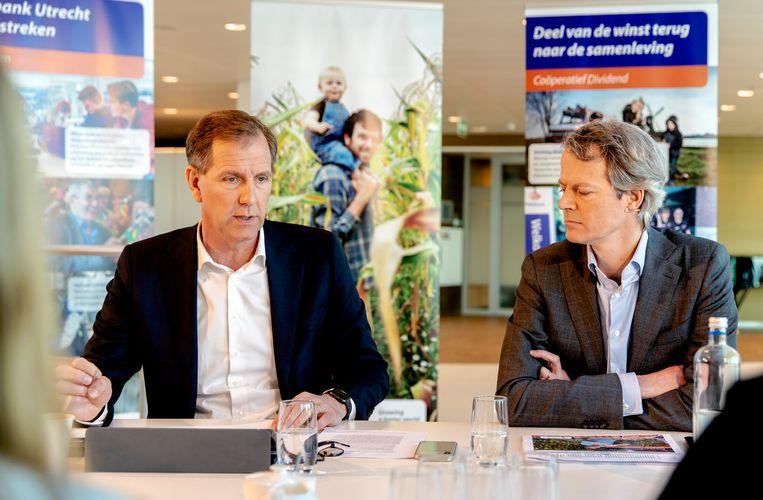 Voorzitter van de Groepsdirectie van Rabobank Wiebe Draijer en CFO Bas Brouwers tijdens de toelichting op de financiële resultaten van 2018.  Beeld ANP