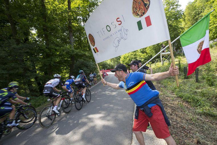 Belgische wielerfans tijdens de Hammer Climb race, onderdeel van de de nieuwe wielerwedstrijd Hammer Series. De wedstrijd bestaat uit een klimkoers, sprintrace en een achtervolgingsrace.  Beeld ANP